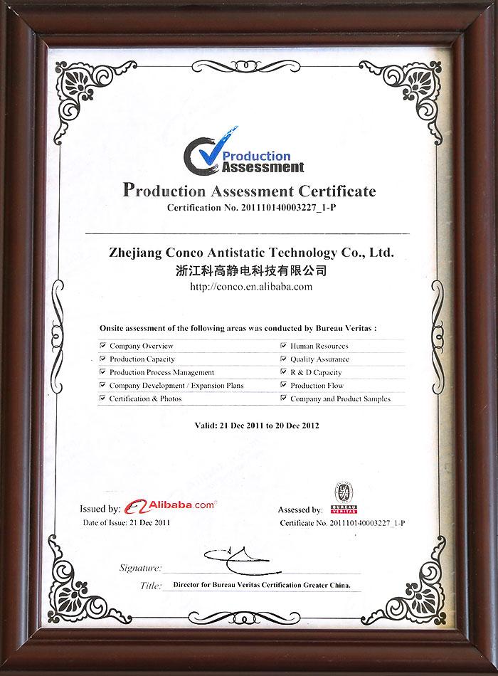 Certificado de evaluación de producción